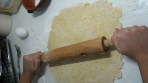 Roll the dough until about 3 cm thick..... and this is where I went wrong. I rolled it too thin.