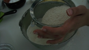 Sift plain and wholeweat flour