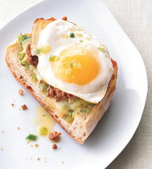egg ciabatta pizza